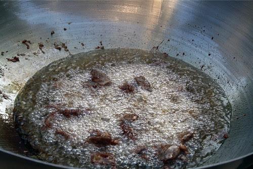 Deep-frying beef