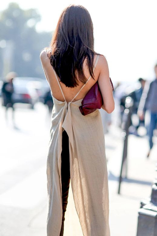 Le Fashion Blog Street Style Pfw Beige Long Strappy Back Top Jeans Red Clutch Via Refinery29