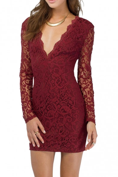 http://www.beautifulhalo.com/plunge-neck-vback-sheer-sleeve-all-over-lace-elastic-dress-p-127054.html