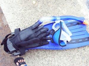 perlengkapan diving. sarung tangan, fins, masker, snorkle