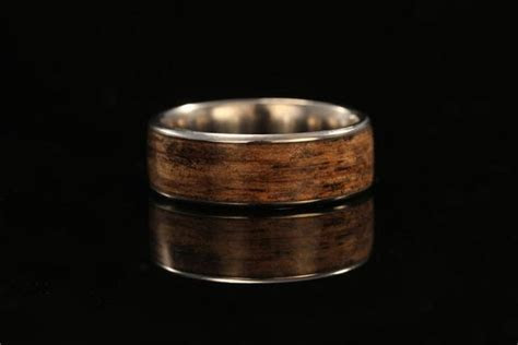 Titanium and Wood Band   Jack Daniel's Whiskey barrel