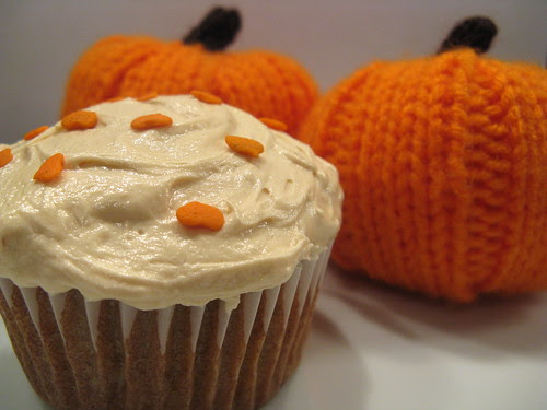 Pumpkin Brown Butter Cupcakes with Dulce de Leche Frosting