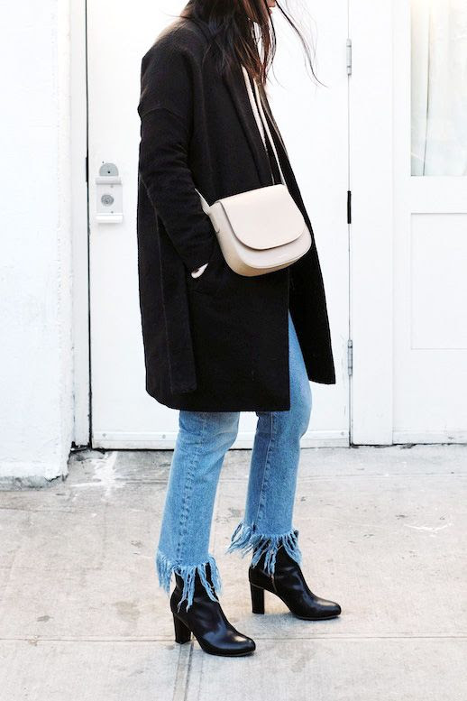 Le Fashion Blog Blogger Style Black Longline Coat Nude Mansur Gavriel Cross Body Bag Light Wash Frayed Jeans Leather Ankle Boots Via Andy Heart
