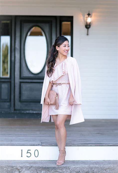 Wedding Guest Outfit // Blush Pink Ruffle Dress   Crepe