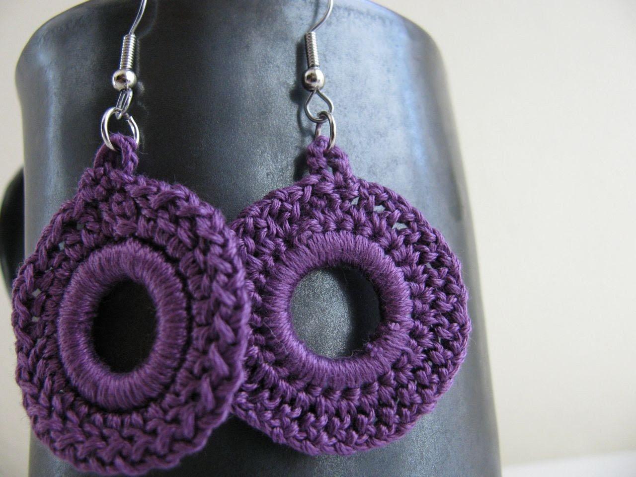 Purple  - crocheted earrings