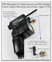 CP1047: PW Mounted to Flash Head via PW Caddy - Custom Adapter Mounting Optical Slave Trigger to PW