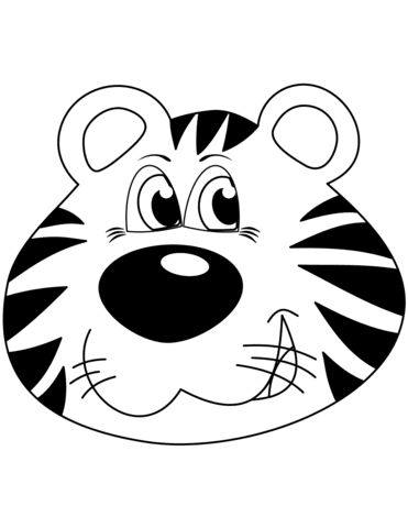 cartoon tiger head coloring page  free printable coloring