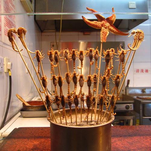 Scorpions, Seahorses, and Starfish on a stick, Wangfujing Night Market, Beijing