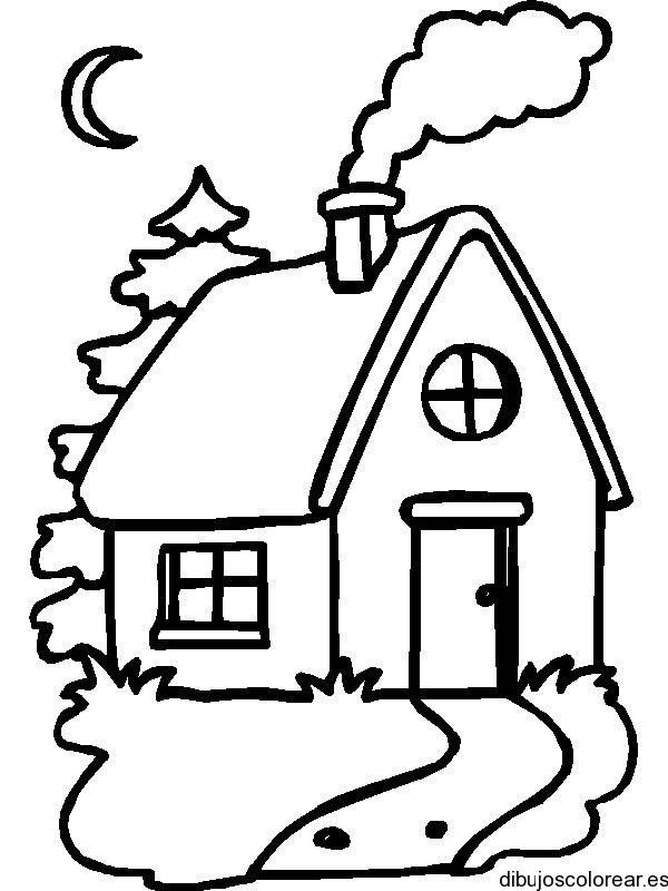 Dibujo De Una Casa Con Chimenea