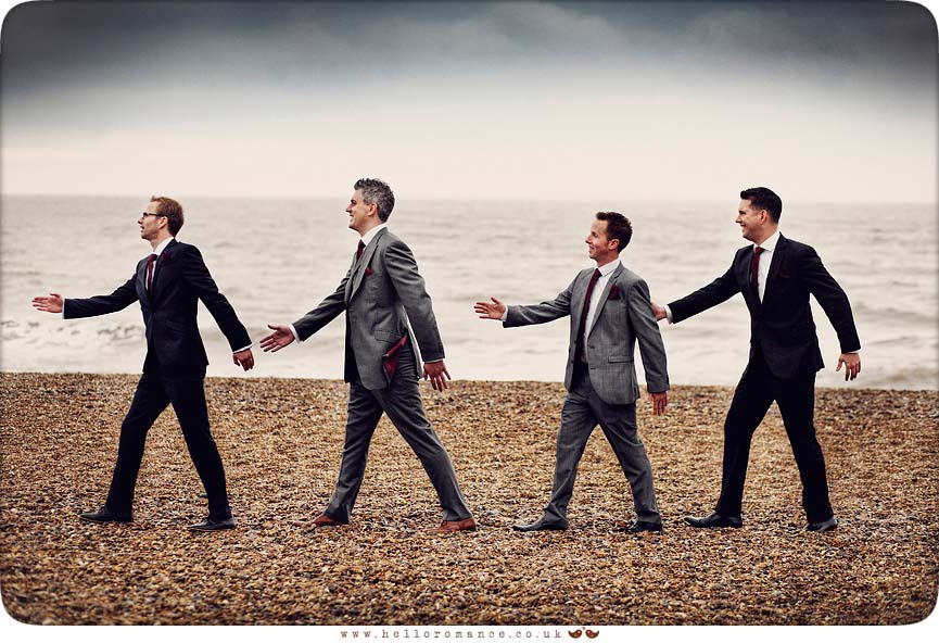 Wedding Beatles Abbey Road Cover Pose Groom and groomsmen on Dunwich Beach Suffolk - Westleton Crown Wedding Photography - Kate and Rob - Hello Romance Wedding Photography Suffolk