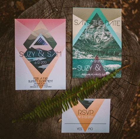 Colorful geometric wedding invites and save the dates from
