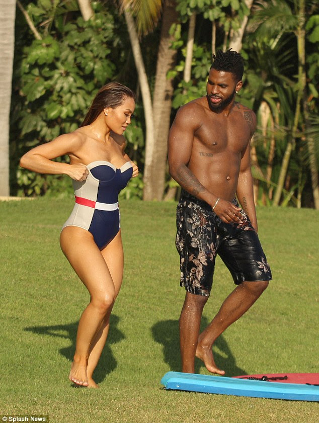 Twice as nice: The couple showed off their impressive physiques as they enjoyed their resort in Punta Mita