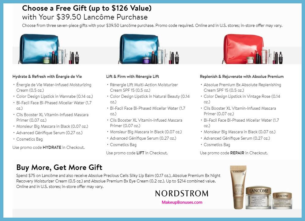 Nordstrom Free Bonus Gifts From Lancôme Makeup Bonuses