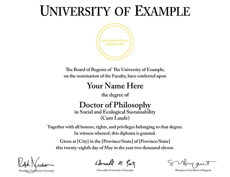 doctorate certificate template