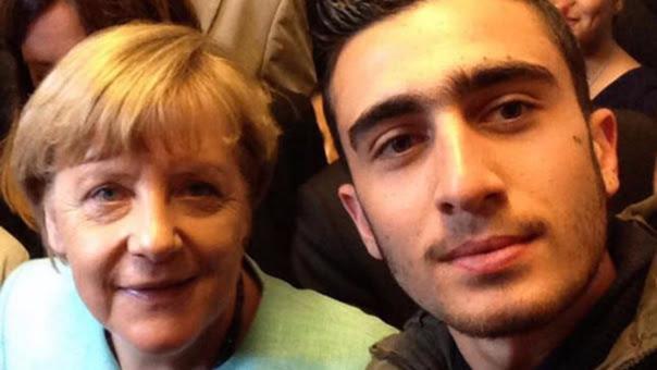 El selfie que le causó más de un problema al refugiado.