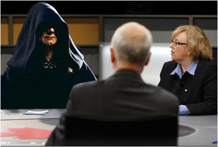 Sith Lord Harper, Elizabeth May and Jack Layton  on Thursday's English language leadership debate,