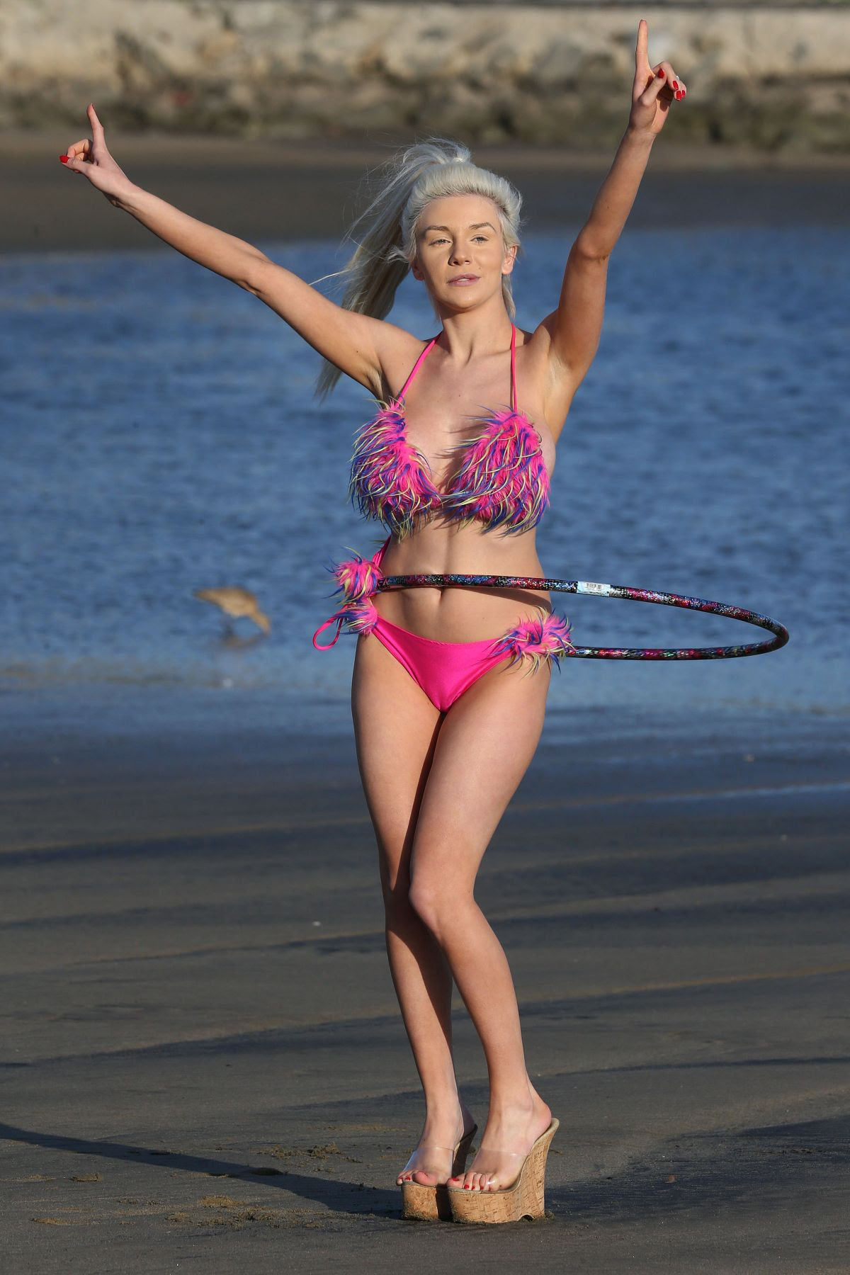 COURTNEY STODDEN in Bikini and Hula Hoop at a Beach in Los Angeles 03/23/2016