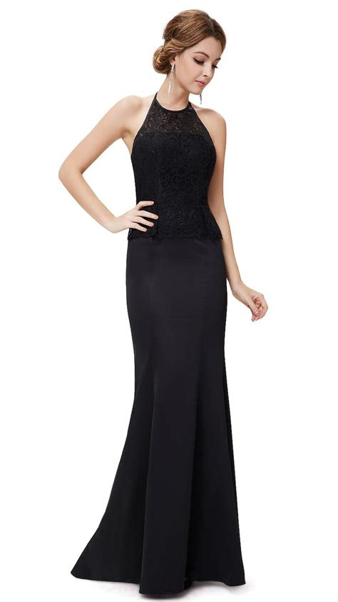 elegant black halter mermaid maxi evening dress hair