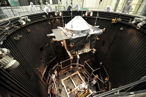NASA's MAVEN spacecraft is about to undergo thermal vacuum testing at the Lockheed Martin facility in Colorado.