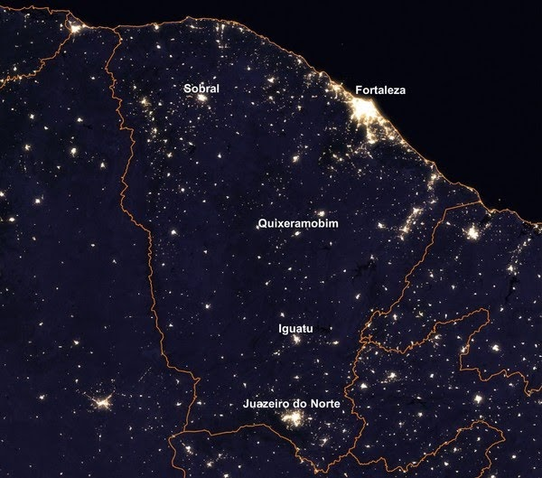 Foto da Nasa mostra iluminação noturna do Ceará vista do espaço