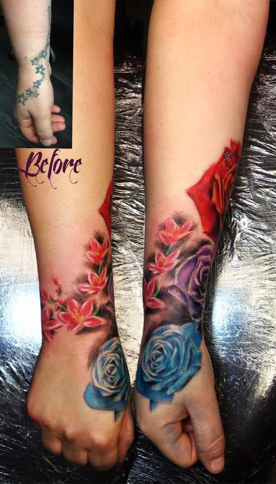 Blue Rose Tattoo On Hand By Aggie