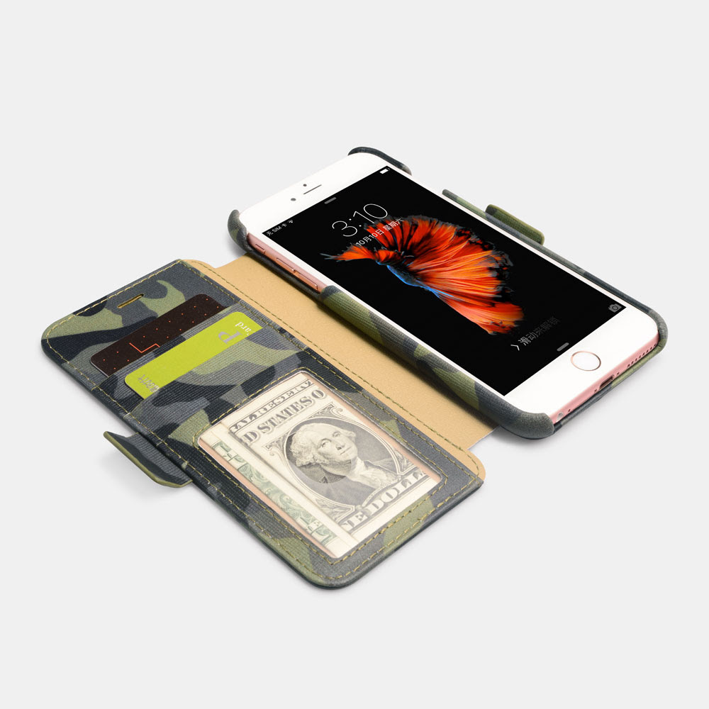 iPhone 6 Plus/6S Plus Camouflage Wallet leather Case with Four Credit Cards Slot