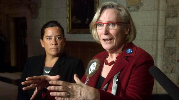 Minister of Indigenous and Northern Affairs Carolyn Bennett, right, along with Minister of Justice Jody Wilson-Raybould, is expected to announce on Monday that Canada is shifting its stance on the UN Declaration on the Rights of Indigenous Peoples.
