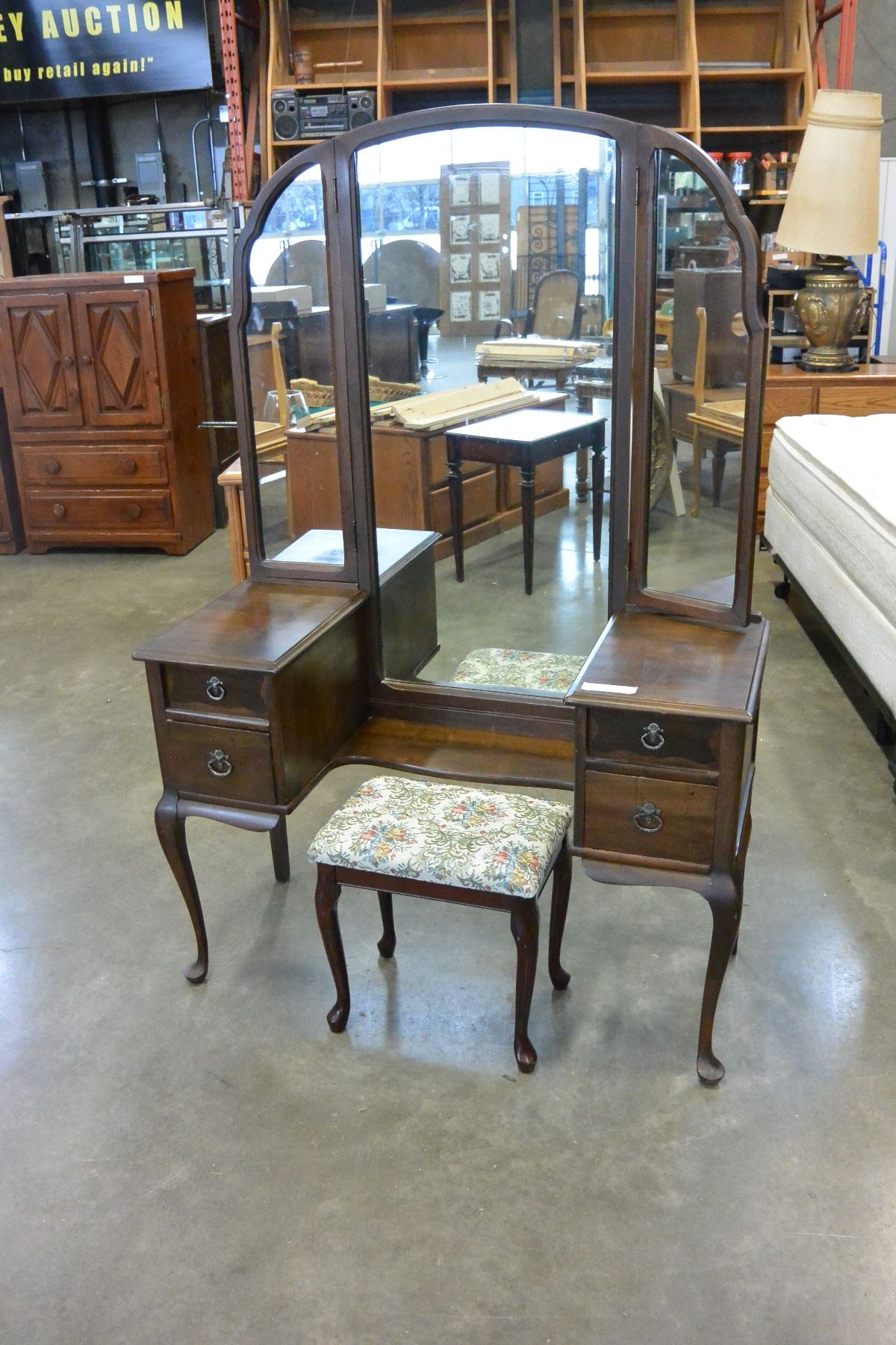 Vintage Vanity Dresser With Mirror And Stool