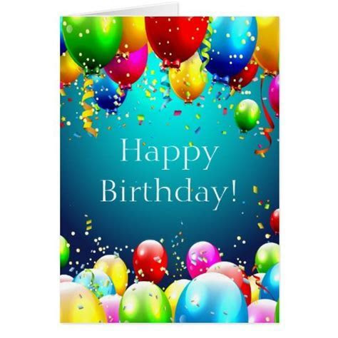 Happy Birthday   Blue Colored Balloons   Customize Card