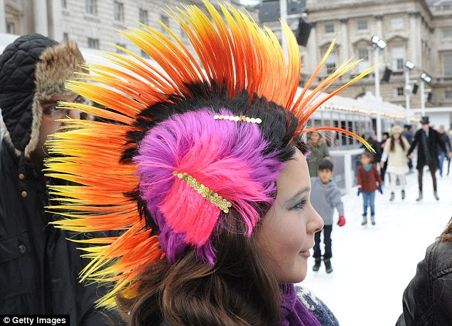 Mohican: The event was held to celebrate Somerset House¿s winter exhibition Isabella Blow: Fashion Galore! Skaters were encouraged to wear their finest hat or fascinator on the ice