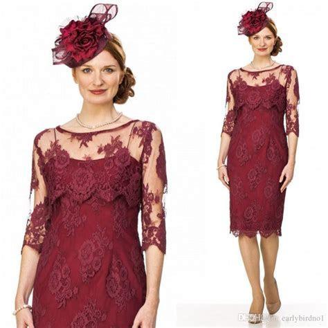2017 New Vintage Burgundy Lace Mother'S Dresses Elegant