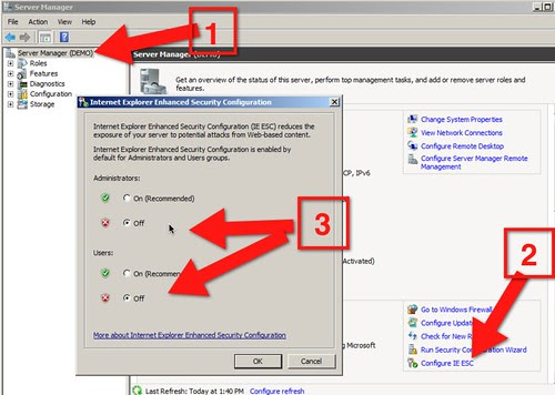 Shutting off IE's Enhanced Security Config
