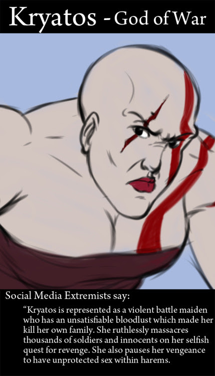 In relation to the idea sprung from this video: https://www.youtube.com/watch?v=Qv_BHKldVA4  Here is what the extremists may say if Kratos had a gender change.