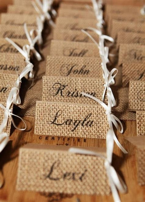 Burlap Wedding Place Cards Burlap Name Tags by