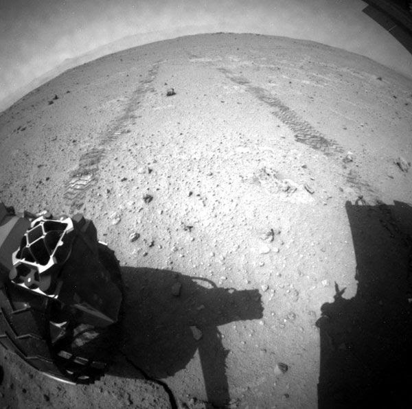 A Navcam image of Curiosity after she drove 110.15 meters (361.39 feet) across the surface of Mars in a single day, on August 22, 2013.
