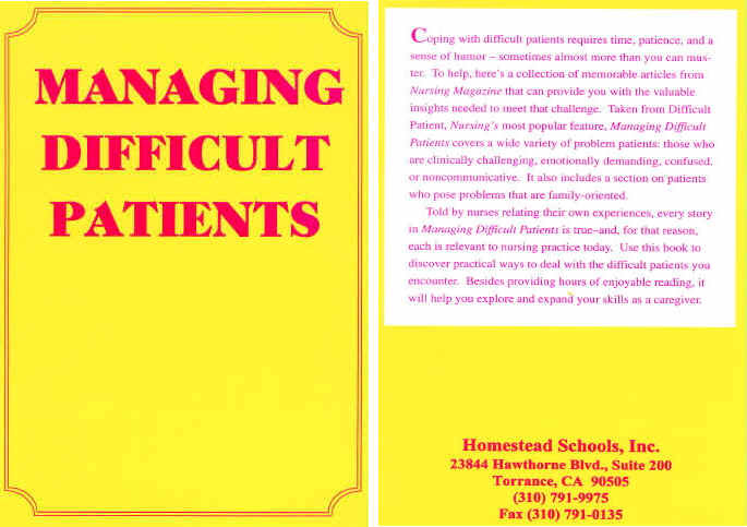 Managing Difficult Patients - Homestead Schools INC.