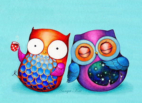 Owl Art - Night Owl Morning Owl - Colorful Bird Artwork Best Friends Cute Couple - NEW Painting by Annya Kai - AnnyaKaiArt