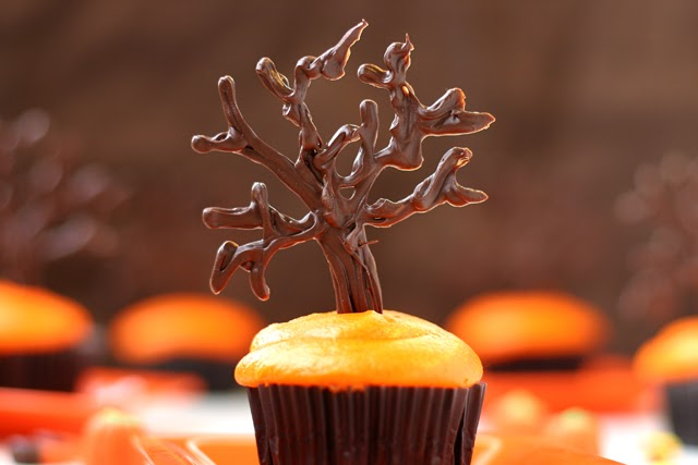 Haunted Chocolate Trees Topping Black Velvet Cupcakes With