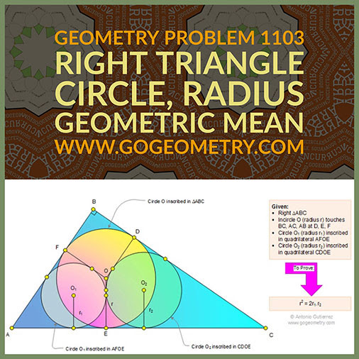 Geometric Art Typography of Geometry Problem 1103: Right Triangle, Incircle, Inscribed Circle, Radius, Geometric Mean, iPad Apps.