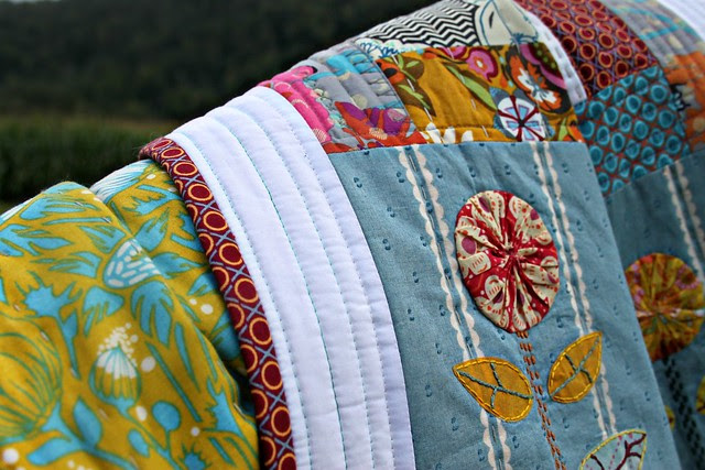 Applique Art Quilt -- Details. Softness