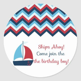 Nautical Birthday Boy Cupcake Topper/Sticker sticker