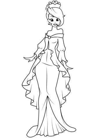 Dibujo De Princesa En El Vestido De Sirena Para Colorear Dibujos