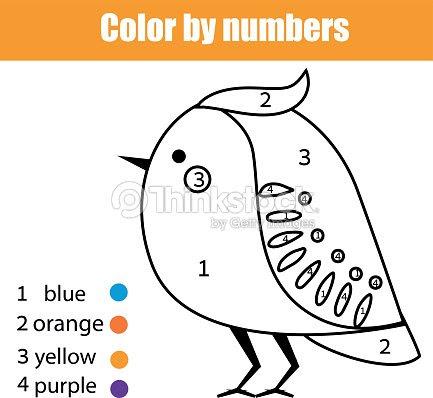 Página Para Colorear De Aves Juego De Niños Educativos De Números