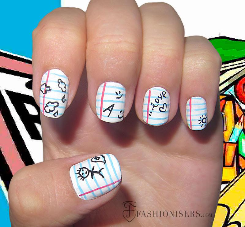 12 Cute Back To School Nail Art Designs   Fashionisers
