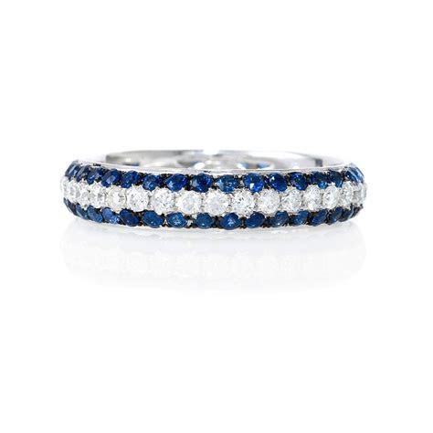 .56ct Diamond and Blue Sapphire 18k White Gold Eternity