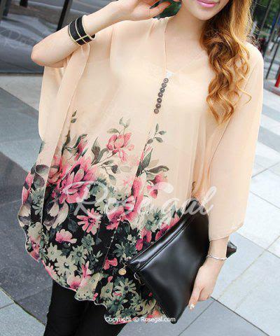 Floral Print 3/4 Sleeve V-Neck Buttons Design Women's Maternity Blouse