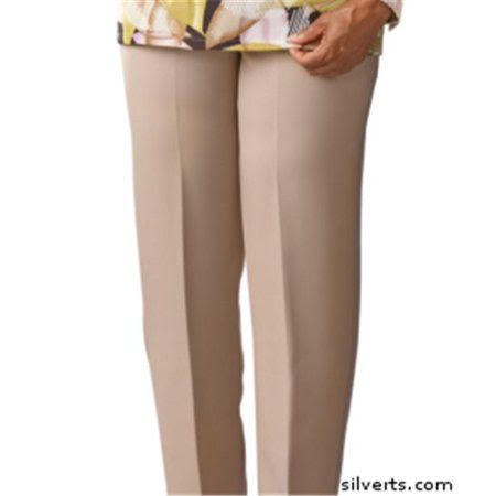 Silverts 130900505 Womens Elastic Waist Pants 2 Pockets - Ladies Pull On Pants - 16, Taupe