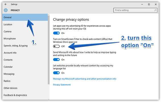 Kết quả hình ảnh cho windows 10 smartscreen filter