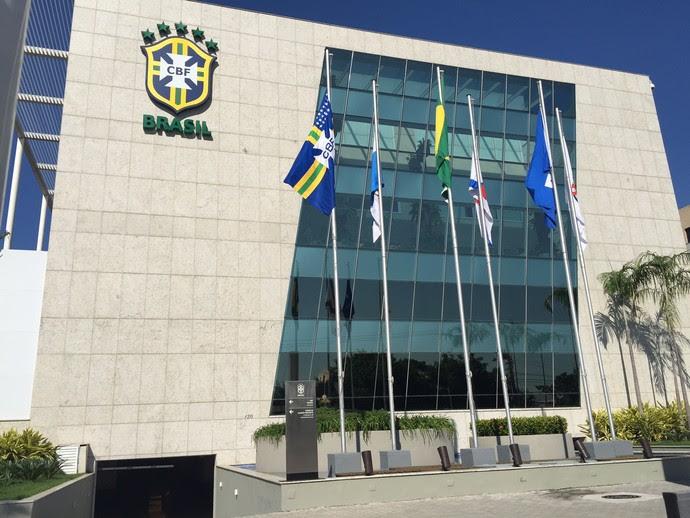 Sede da CBF sem o nome de Marin (Foto: Cahê Mota)