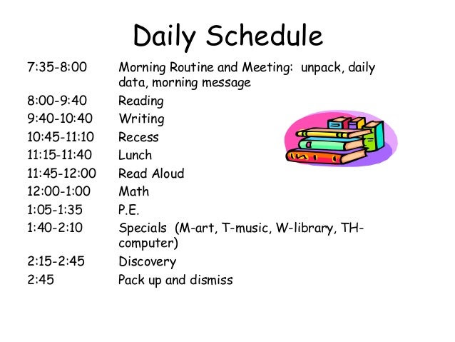 Grade 2 Daily Schedule   Daily Planner